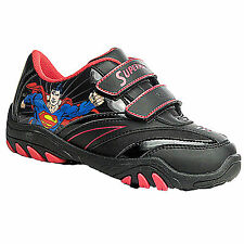 Boys Kids Childs SUPERMAN Velcro Trainers Shoes Black School Play Sport Sizes