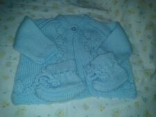 Lovely hand knitted baby coat & bootees. Blue. 0-3 months. New.