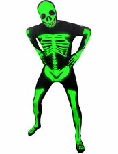 Adult Glow in the Dark Skeleton Morphsuit Halloween Fancy Dress Costume Outfit