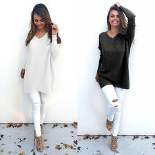 New Casual Women Knitted Pullover Loose Sweater Jumper Tops Long Sleeve Knitwear