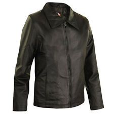 Black Designer Womens Short Zipper Leather Jacket