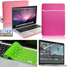 4in1 Pink Rubberized Hard Case cover NEW For Apple Macbook Pro 13 retina display