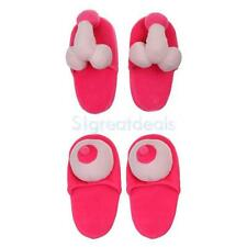 Novelty Boobie Plush Slippers Hen Party Stag Night Sexy Penis Willy Slipper