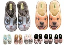 Ladies & Girls 3D Print Novelty Slippers Cats & Dogs Size 3 to 8 UK - GREAT GIFT
