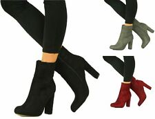 Womens Faux Suede Chunky High Block Heel Boots Ankle Side Zip Closed Toe Shoes