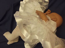 DREAM BABY WHITE SPARKLES  ROMANY DRESS  PANTS NB - 12 MONTHS OR REBORN DOLLS