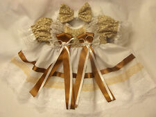 DREAM BABY GIRLS WHITE COFFEE DRESS & HBD NB 0-3 3-6 MONTHS  OR REBORN DOLLS