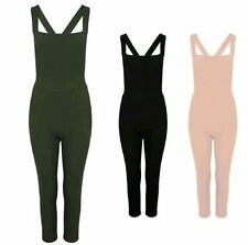 NEW LADIES PINAFORE FRONT CROSS BACK STRAPPY DUNGAREE JUMPSUIT