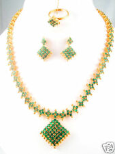 40CMS FULL EMERALD LONG NECKLACE EARRINGS & RING + GIFT