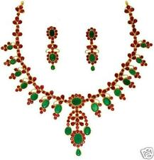 EMERALD OVEL & RUBY PEARS NECKLACE EARRING + FREE GIFT