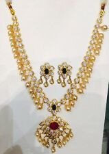RUBY EMERALD CZ PEARL DROP NECKLACE EARRINGS + FREE GIFT