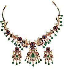 EXCLUSIVE PEACOCK DESIGN RUBY EMERALD BLUE-SAPPHIRE NECKLACE EARRINGS + GIFT
