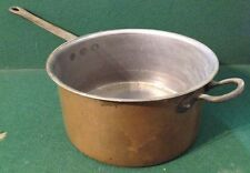 Large Vintage Copper Sauce Pan With Two Brass Handles