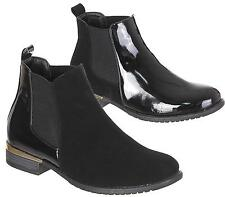 WOMENS LOW BLOCK HEEL SHORT BLACK CHELSEA ANKLE BOOTS LADIES SHOES SIZE 3-8