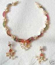 NAVRATNA NECKLACE EARRINGS WITH PEARL HANGING+FREE GIFT
