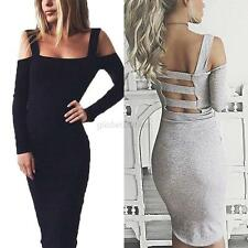 Womens Backless Prom Ball Cocktail Party Long Sleeve Bandage Dress Evening Gown