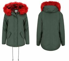 Womens Padded Lined Parka Red Faux Fur Trim Hooded Thick Warm Winter Jacket Coat