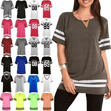 Womens Oversized Top Ladies Cap Sleeve Sports Stripe Baggy Pullover T Shirts