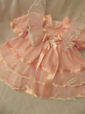 DREAM BABY PINK ORGANZA FRILLY DRESS NB 0-3 3-6 MONTHS OR REBORN DOLLS