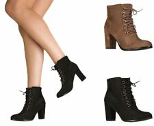 Womens Faux Suede Ankle High 8 Loop Laced Party Boots Block Mid Size Wedge Heel