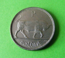 Authentic High Grade 1954 Irish One Shilling Coin - Charging Bull Luster Ireland