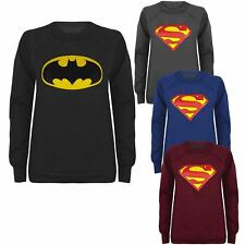 Ladies Comic Hero Womens Superman Batman Sweatshirt Sweater Jumper Top Size 8-14