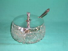 Antique Cut Glass Preserve Jam Pot with Art Deco Silver Plated Lid and Spoon