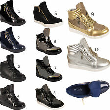 Womens Mid High Top Wedge Sneakers Ladies Ankle Boot Trainers Shoes Sizes 3-8