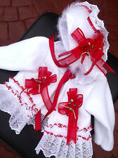 DREAM NB 0-3 3-6 MONTHS BABY WHITE  RED  TRIM COAT AND  BONNET  OR REBORN DOLLS