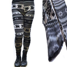 Strick  Leggings Leggins Hosen Strumpfhosen Norweger gefüttert Fleece Fell warm.