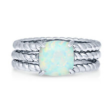 Silver Cushion Simulated Opal CZ Cable Solitaire Cocktail Ring Set 2.04 CT