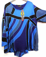 ANGEL CIRCLE BLUE BLACK PURPLE SATIN VISCOSE BATIK TOP V HEM LONG SLEEVED