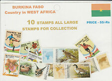 BURKINA FASO : COUNTRY IN WEST AFRICA 10 DIFFERENT THEMATIC STAMPS ALL LARGE