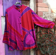 SALE ANGEL CIRCLE PINK RED PURPLE SATIN VISCOSE BATIK BUTTON JACKET LONG SLEEVED