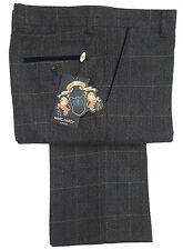 MENS MARC DARCY CHECKED FORMAL /  WEDDING / SMART TROUSERS SCOTT -  BLUE CHECK