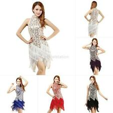 Women Latin Salsa Tango Ballroom Competition Sequined Fringe Dance Dress Costume