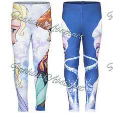 Kids Girls Disney FROZEN PRINCESS ELSA ANNA Prints Leggings Trouser Pants 3-8yrs