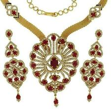 RUBY CZ DESIGNER JEWELLERY SET WITH BROAD CHAIN + GIFT