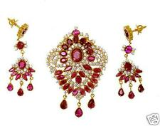 RUBY MARQUISE OVEL PEARS & CZ PENDANT SET + A GIFT