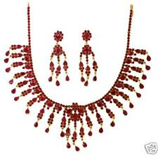 RUBY OVEL AND PEARS NECKLACE WITH EARRINGS+ A FREE GIFT