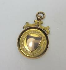 ANTIQUE BIRMINGHAM YELLOW & ROSE 9CT GOLD POCKET WATCH FOB VACANT CARTOUCHE