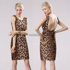 Sexy Women Leopard Backless Mini Evening Party Club Slim Fitted Dress New WST