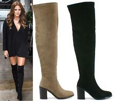 WOMENS MID HEEL FLAT SEXY SOFT SUEDE OVER THE KNEE HIGH THIGH STRETCH BOOTS SIZE
