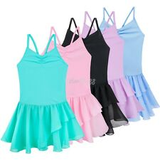 Kids Girls Ballet Dance Tutu Leotard Dress Gymnastics Skating Dancewear Costume