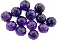 FIVE 12mm Round Natural Feathered Medium Dark Amethyst Cab Cabochon CLOSEOUT