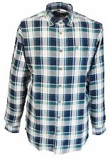 Farah Green Checked Long Sleeved Cotton Retro Mod Button Down Shirts