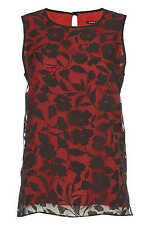 Roman Originals Ladies Double Layer Burnout Red 10-20