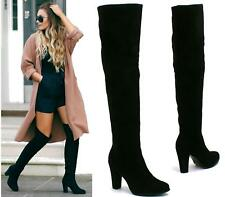 NEW LADIES WOMENS BLACK FAUX SUEDE OVER THE KNEE HIGH HEEL THIGH BOOTS SIZES 3-8