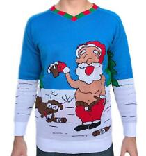 Tree Buddees Adult Funny Ugly Christmas Sweater knit Drunk Santa & Rudolph Shirt