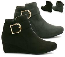 WOMENS LADIES BLACK GREY SUEDE WEDGE HEEL GOLD BUCKLE PIXIE ANKLE BOOTS SHOES